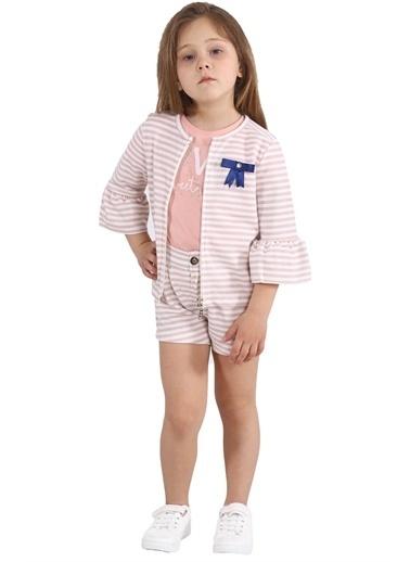 Silversun Kids Kız Çocuk Çizgili Kolları Fırfırlı Fiyonk Detaylı Sweatshirt Jm 215443 Pembe